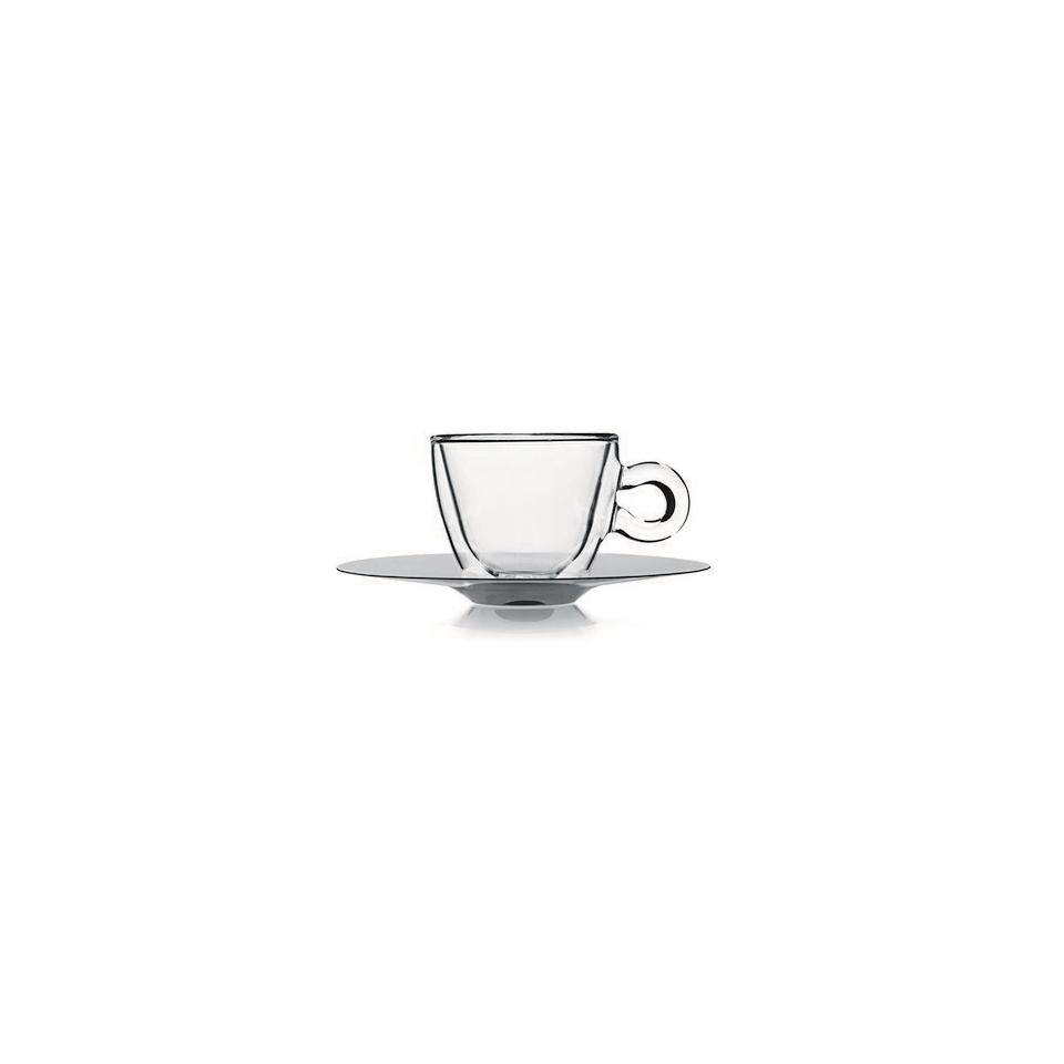 Tazza espresso Termica Bormioli Luigi in vetro trasparente con piatto in acciaio inox cl 6,5