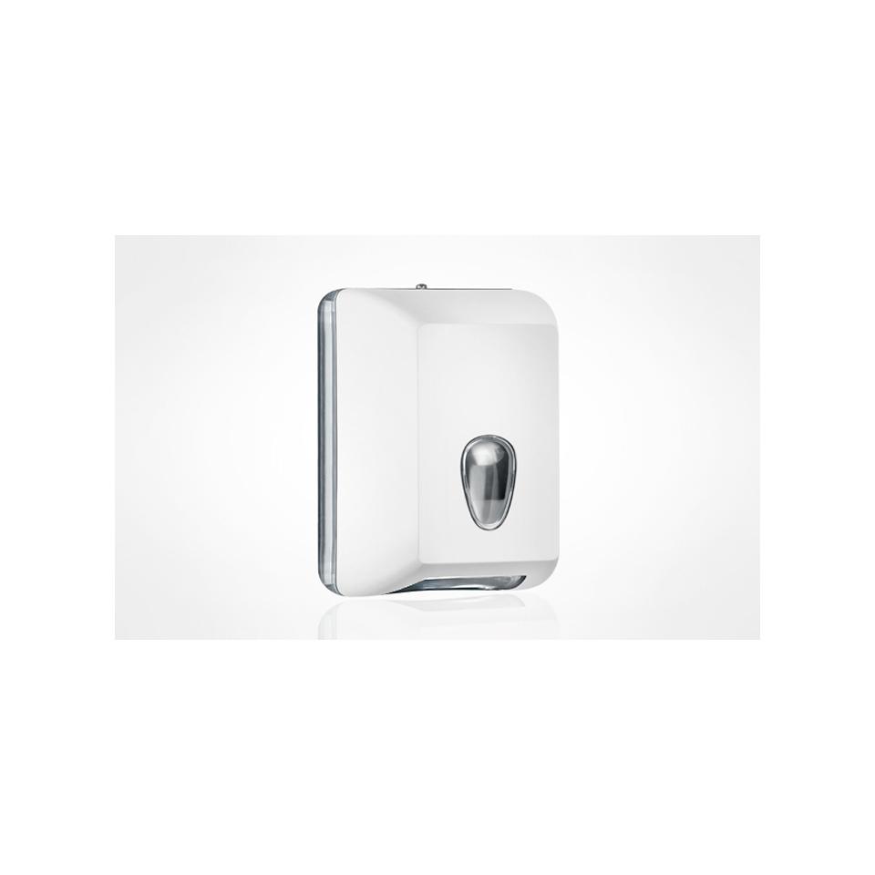 Dispenser per carta igienica in fogli in plastica bianca