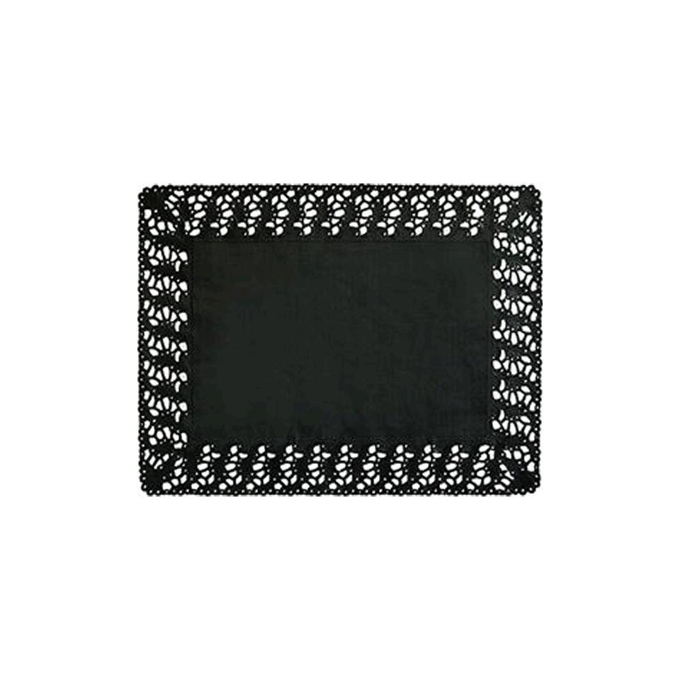 Pizzi rettangolari Duni in carta nera cm 30x40