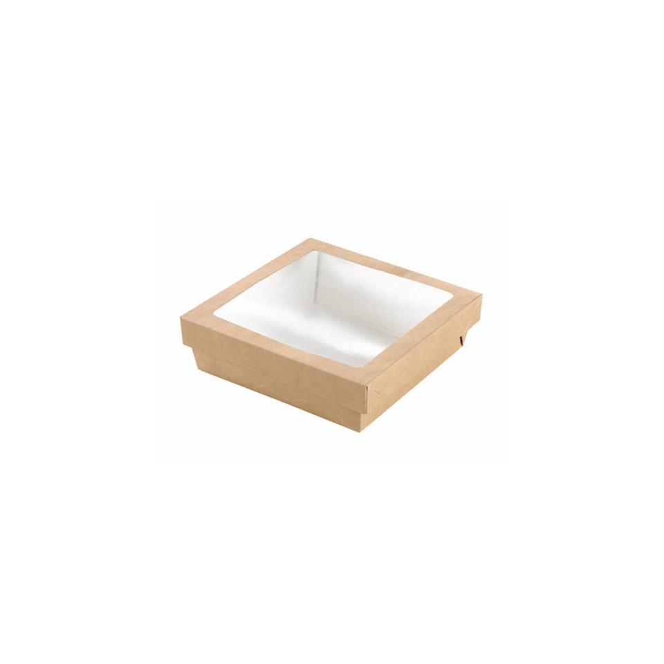 Scatola per alimenti monouso in cartone marrone con coperchio a finestra cm 22,5x22,5x8