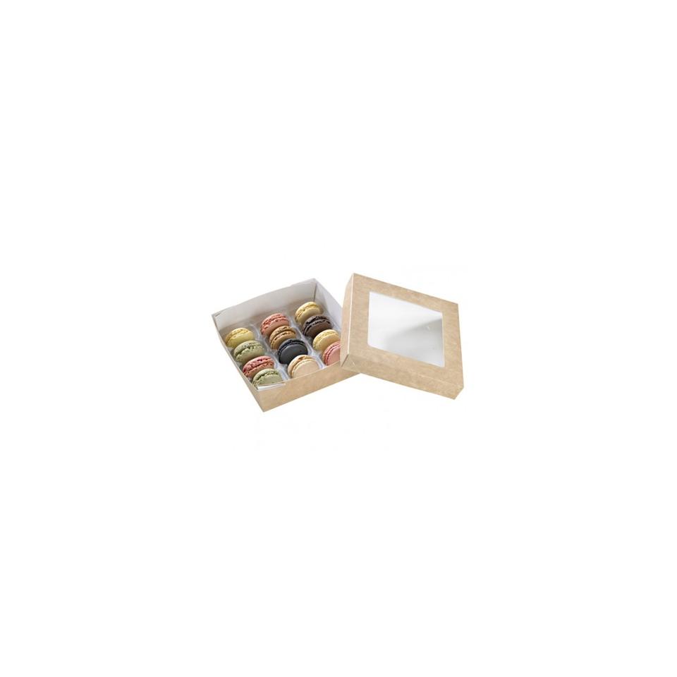 Scatola alimenti monouso in cartone con coperchio a finestra