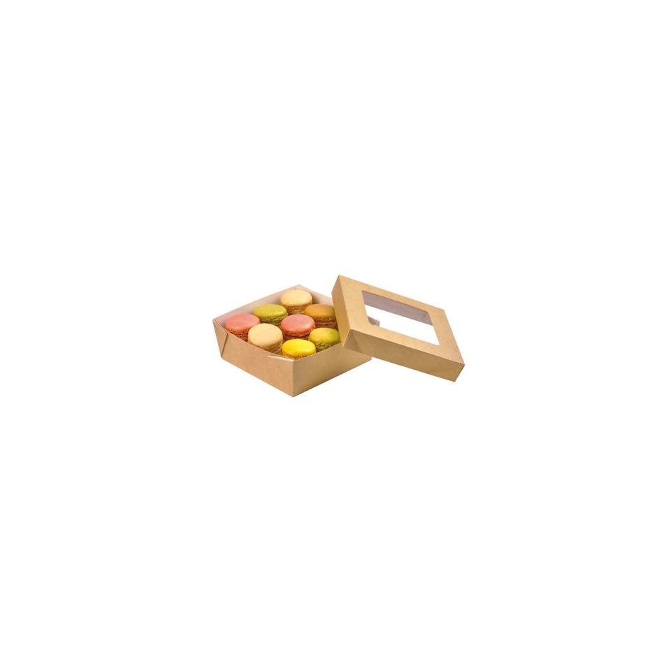 Scatola per alimenti monouso in cartone con coperchio a finestra cm 13,5x13,5x5