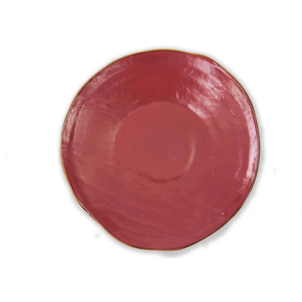 Piatto piano Mediterrano in ceramica rosso ciliegia