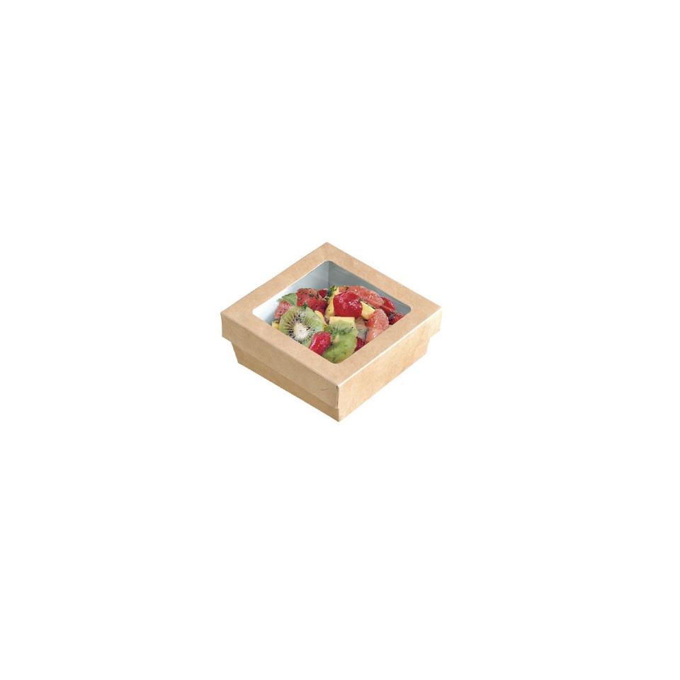 Scatola per alimenti monouso in cartone con coperchio a finestra cm 11,5x11,5x4,5