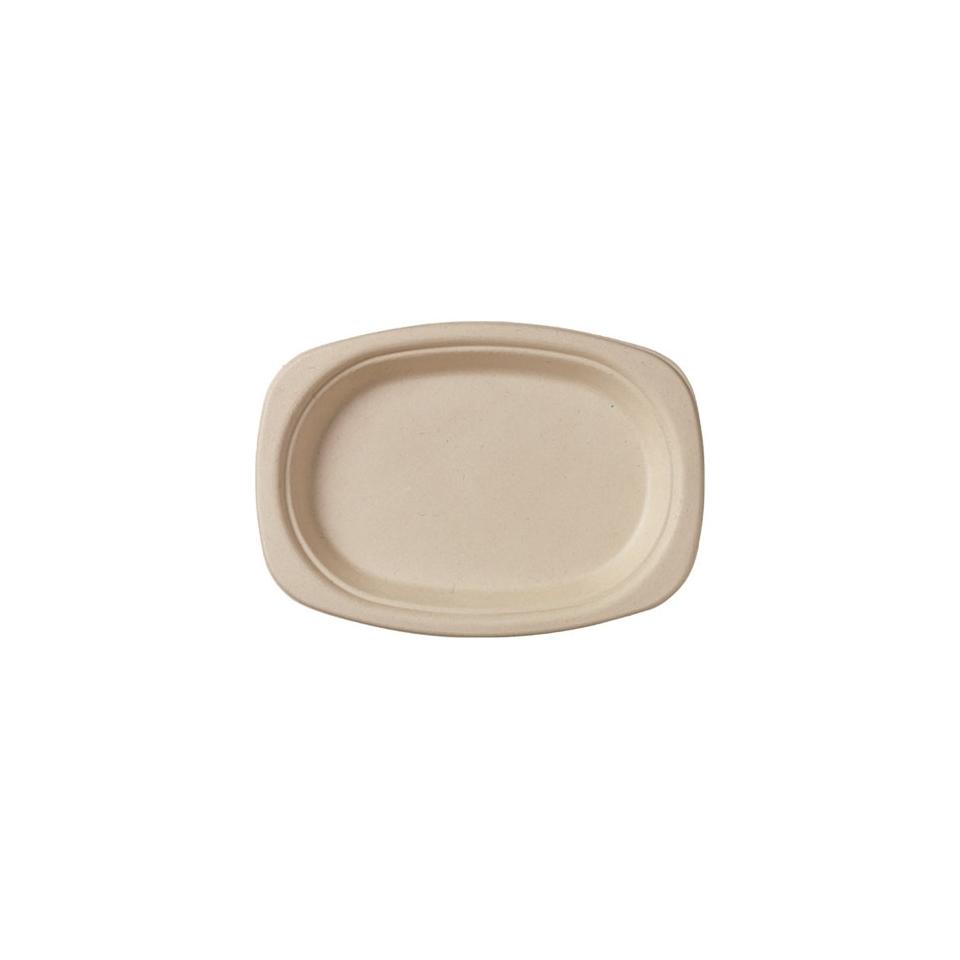 Piatto ovale monouso Duni in polpa di cellulosa marrone cm 22 x 16