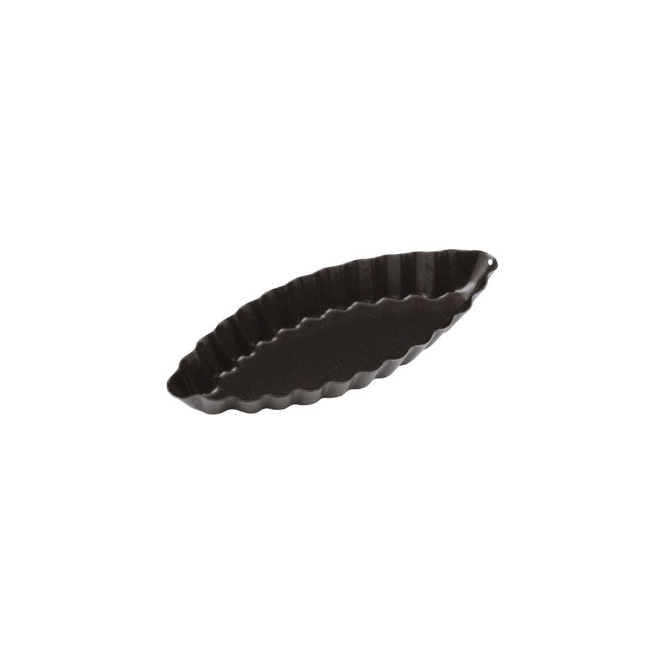 Tartelletta barchetta in acciaio inox antiaderente nero cm 12