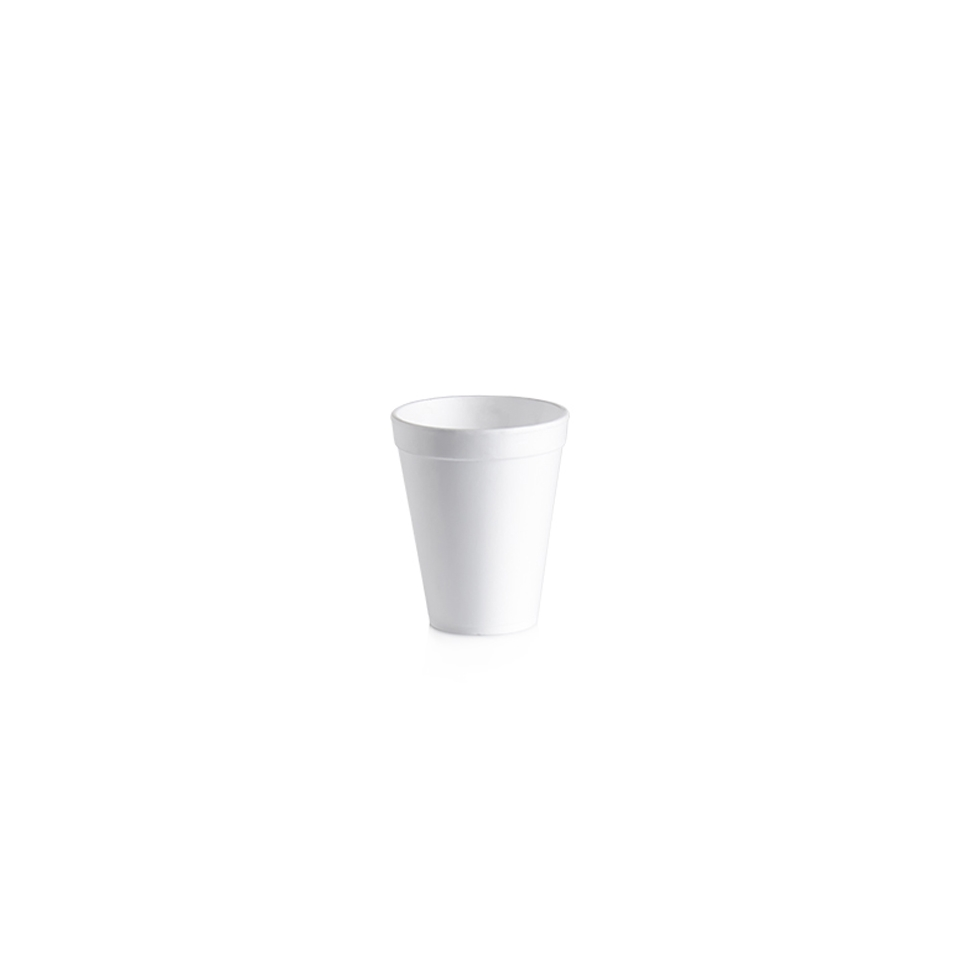 Bicchiere monouso bibita e cappuccio in polistirolo termico bianco