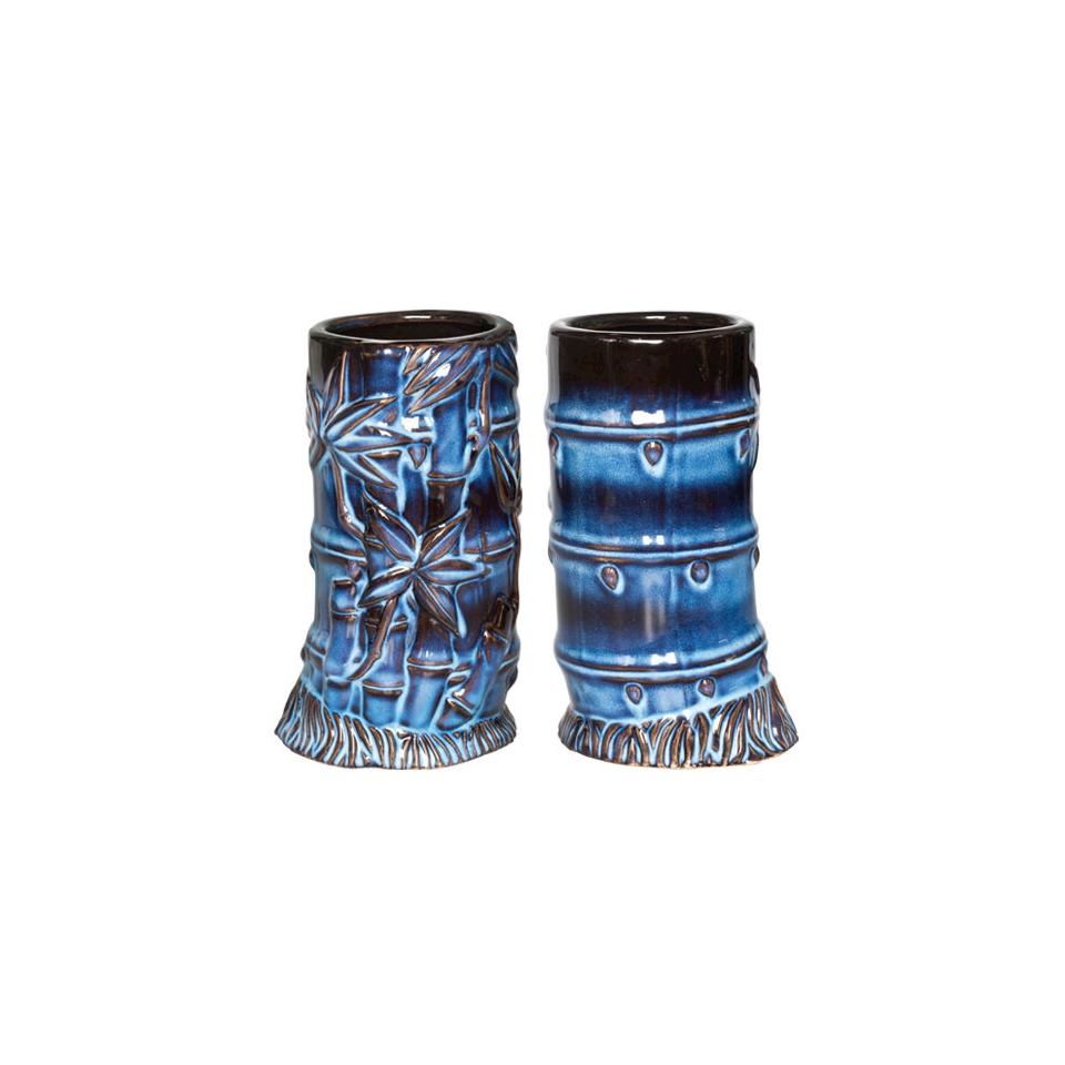 Tiki mug Bamboo ceramica 400ml azzurro/nero