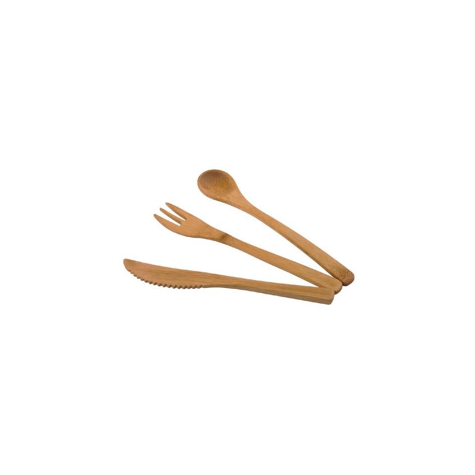 Kit coltello forchetta cucchiaio monouso in legno bamboo con busta cm 16