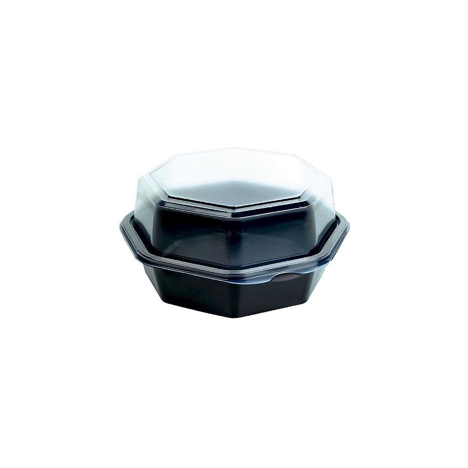 Contenitore Octaview Duni in ps nero con coperchio trasparente cm 16x16x8
