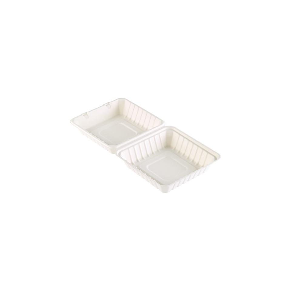 Contenitore asporto Duni con coperchio in polpa di cellulosa bianca cm 16,2x15,2