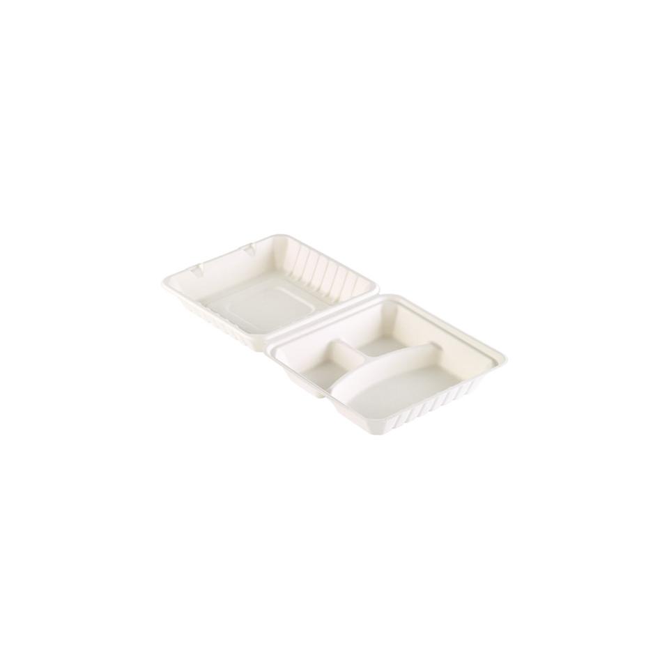 Contenitore asporto Duni con coperchio a 3 scomparti in polpa di cellulosa bianca cm 23,6x23,1