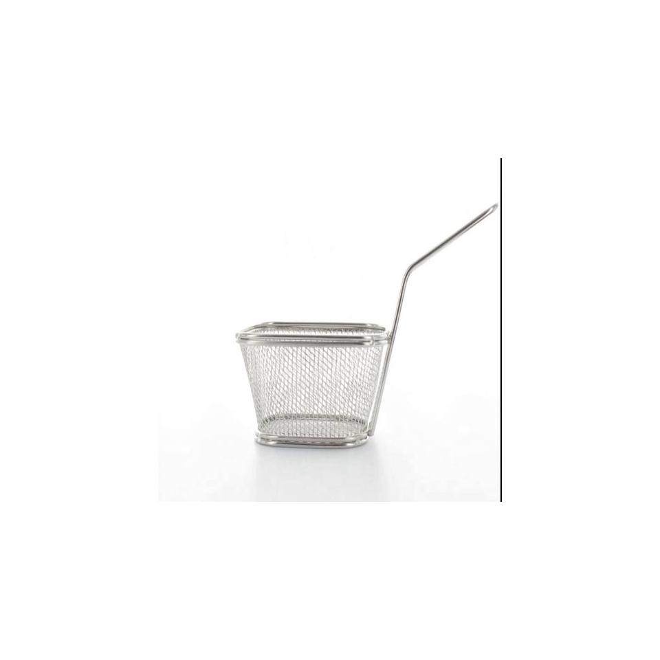 Minicestello per fritti quadro in acciaio inox cm10 x 8,5 x 6