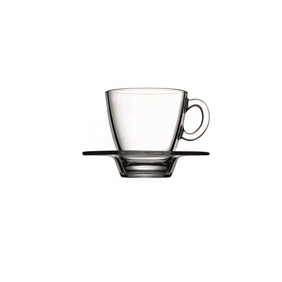 Tazza cappuccino Aqua con piatto in vetro trasparente cl 24