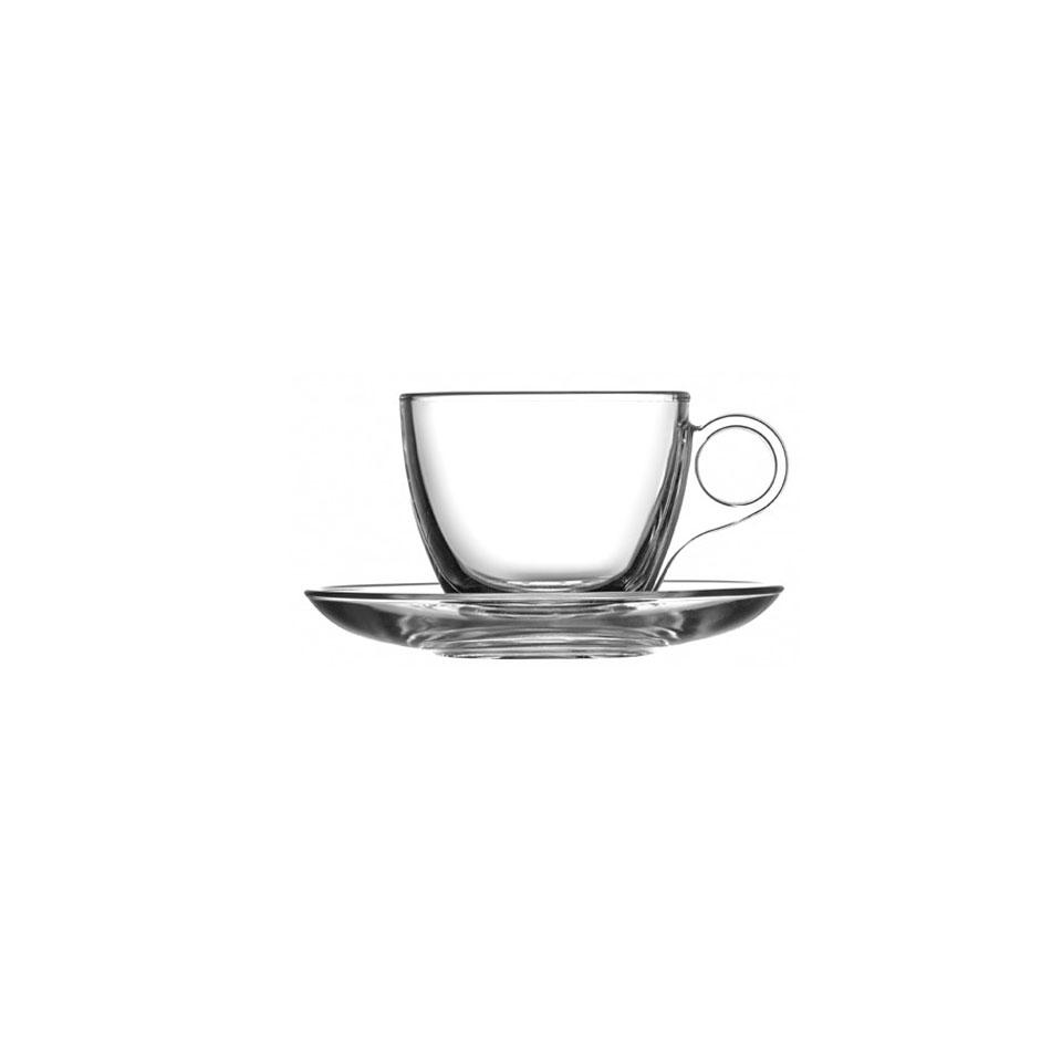 Tazza cappuccino con piatto Cherie in vetro cl 20