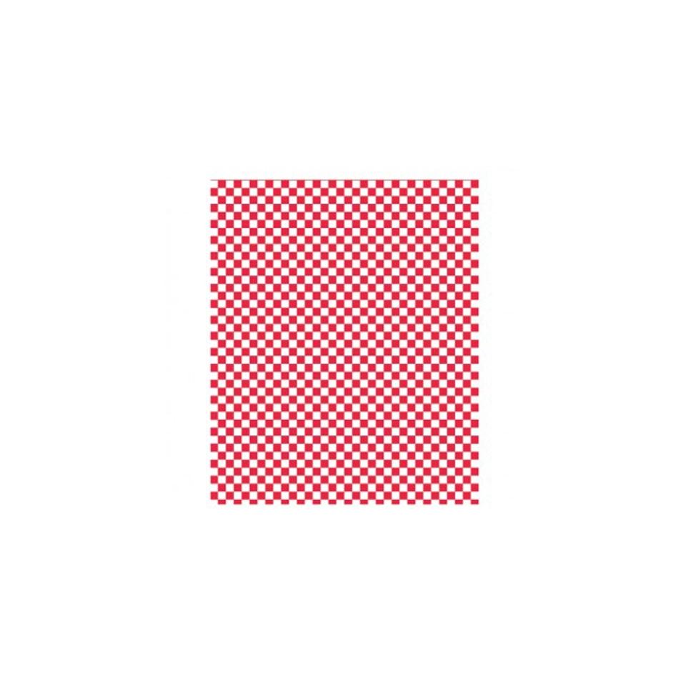 Fogli per alimenti con decoro bianco e rosso cm 34x28