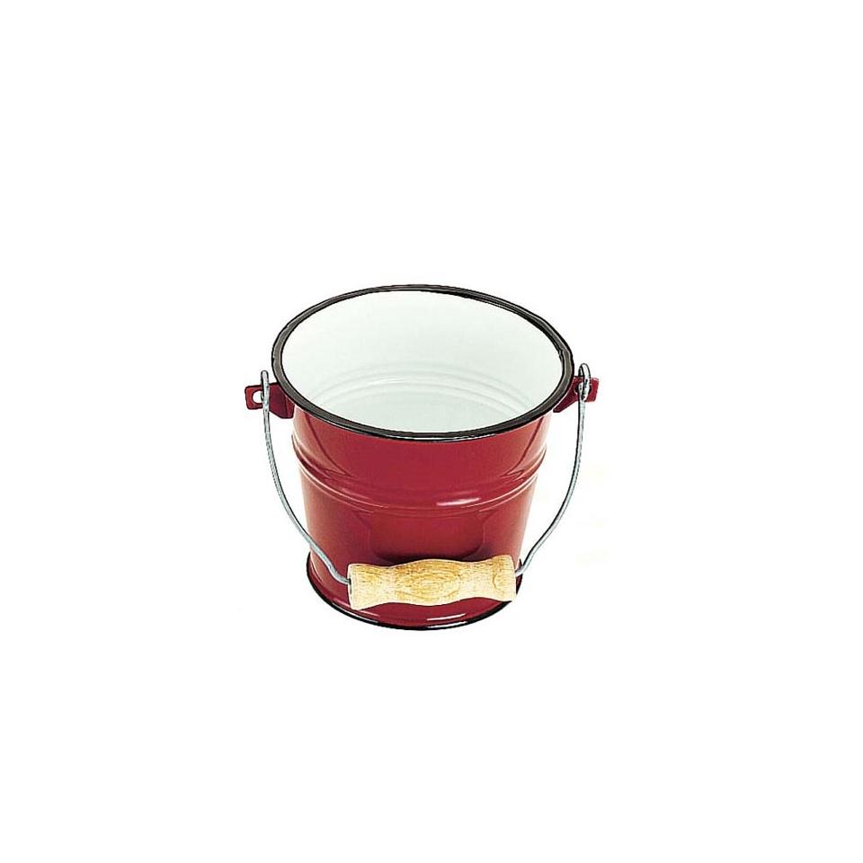 Secchiello tondo in metallo verniciato rosso cm 14