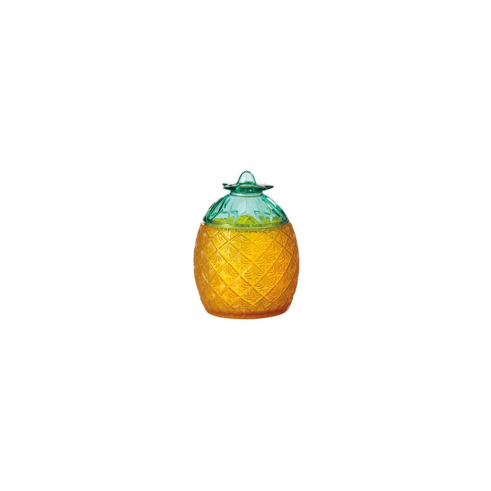 Bicchiere Ananas in plastica color giallo e verde cl 74