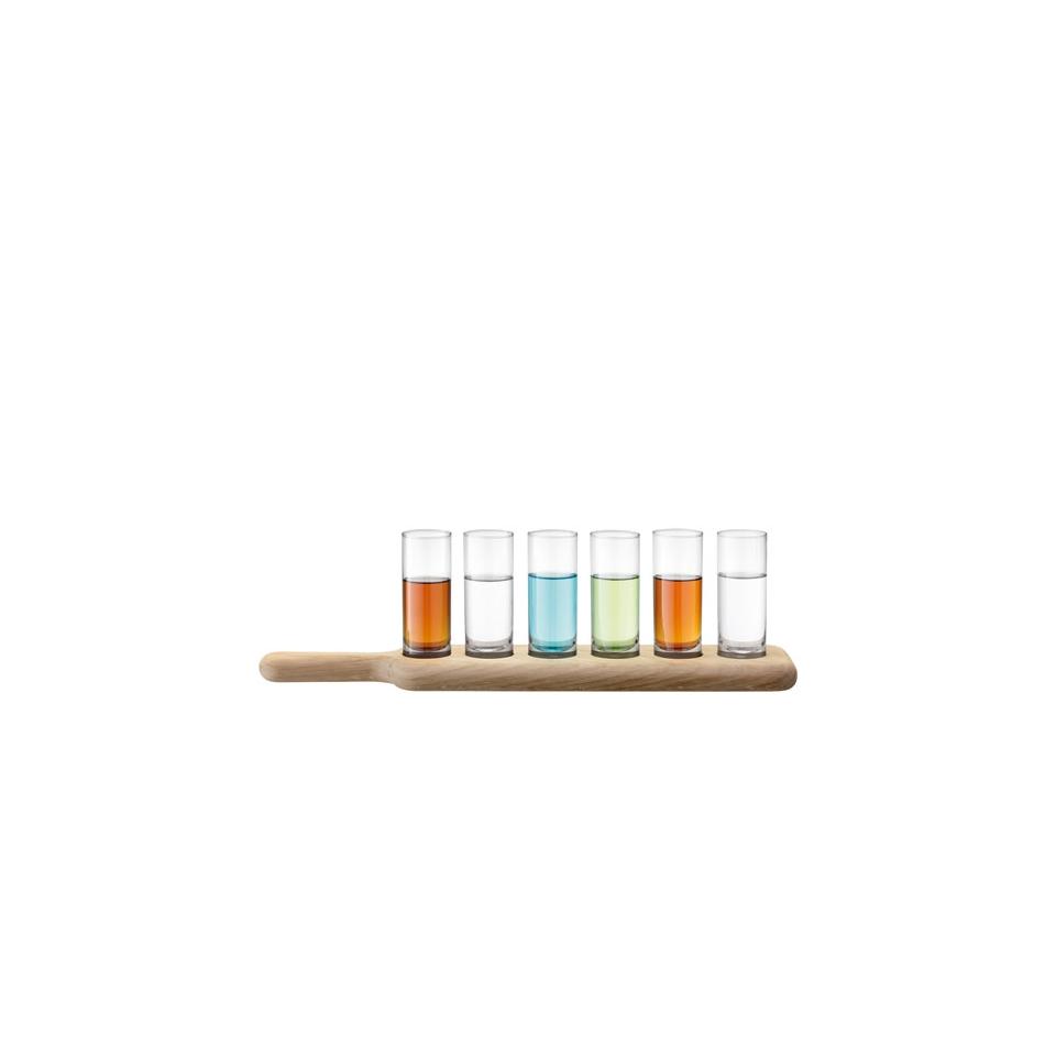 Bicchierini Vodka Lsa in vetro con base di legno cl 7