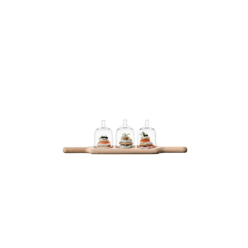 Vassoio legno Rovere Paddle Trio LSA con cupole in vetro