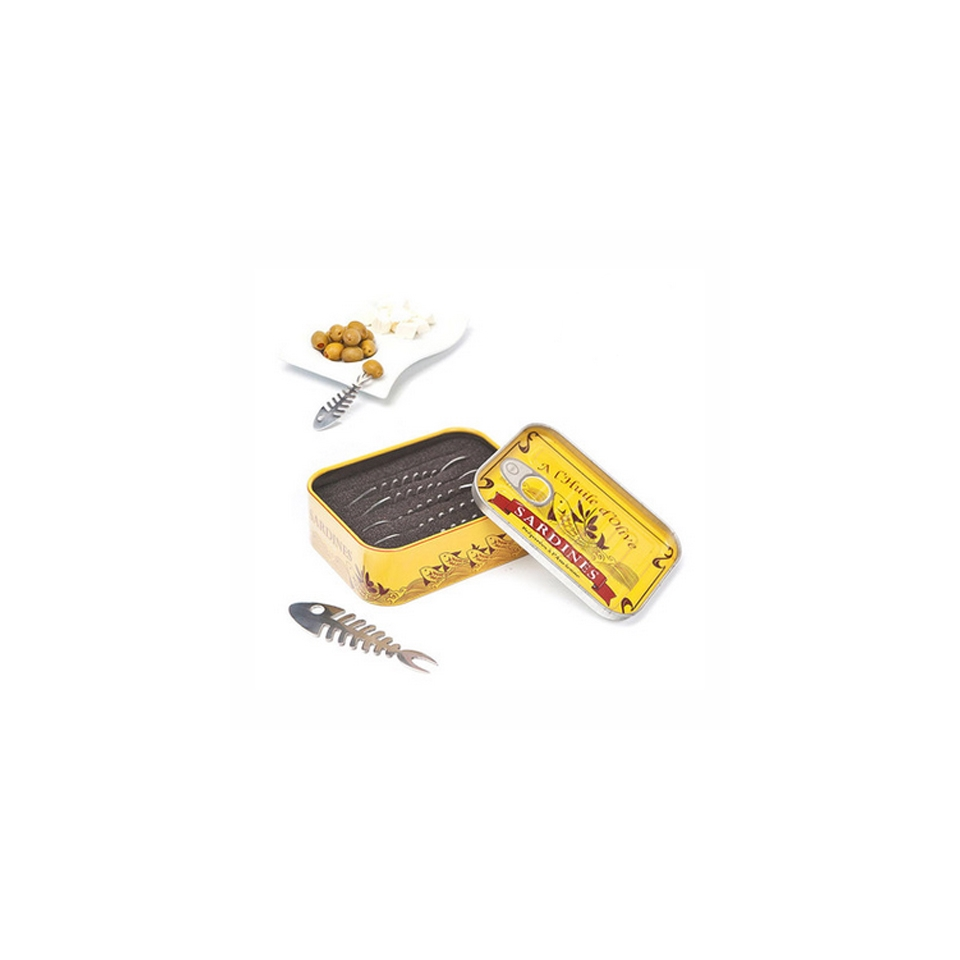 Forchettine Sardines per aperitivo con coperchio cm 8