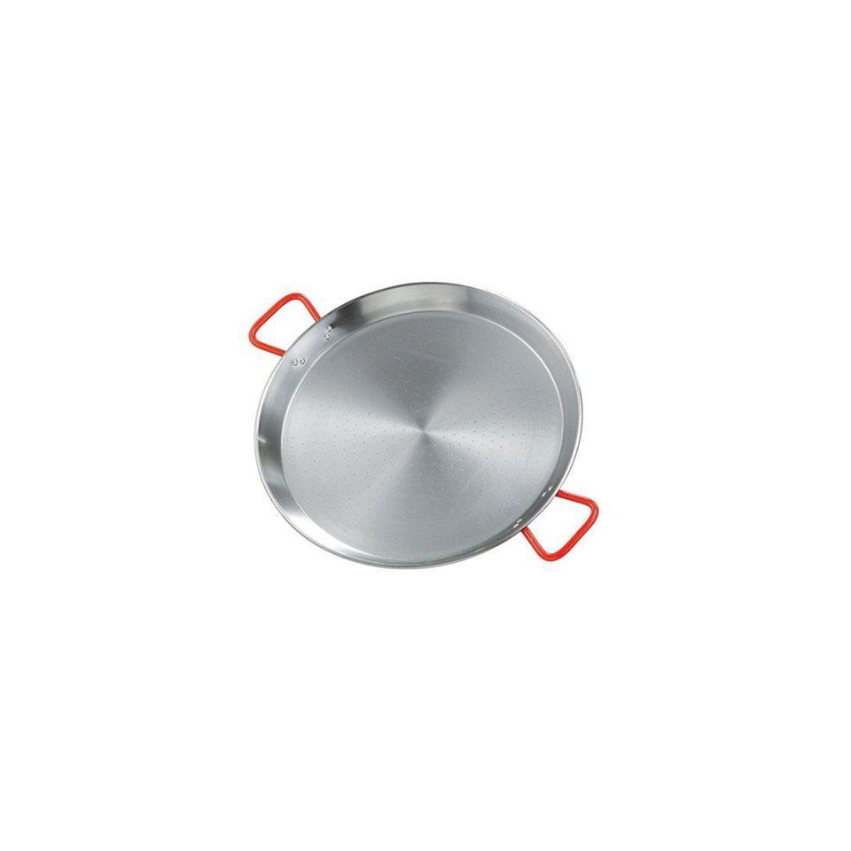 Paellera Ideal Ilsa in acciaio al carbonio con maniglie rosse cm 24,4