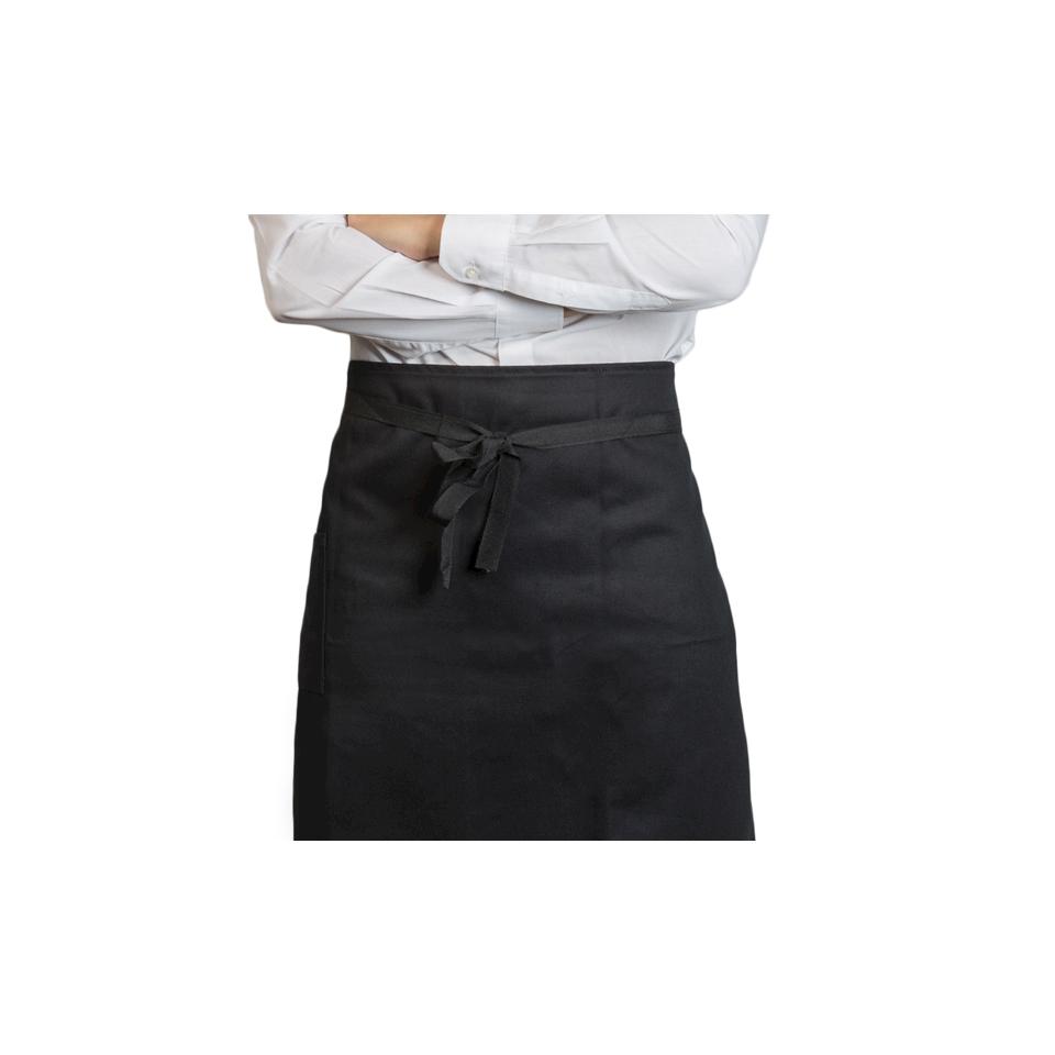 Grembiule con tasca spigato nero cm 75x60