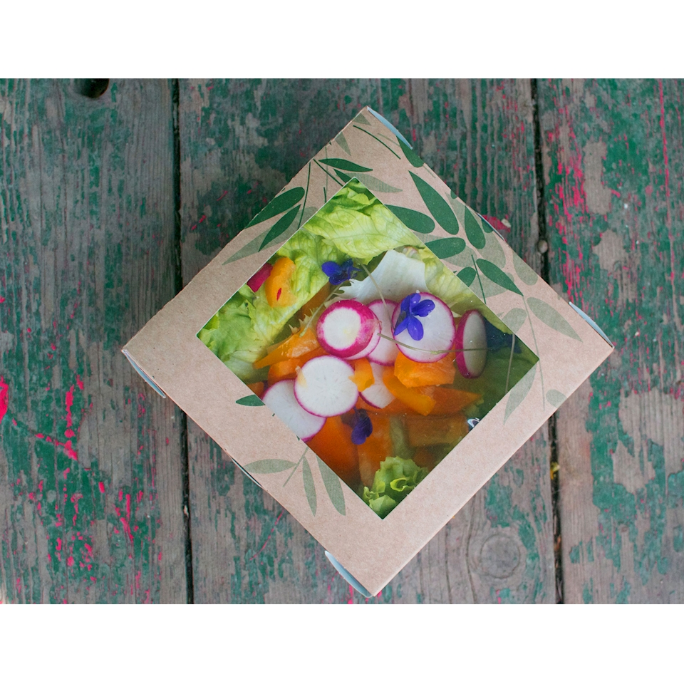 Contenitore Feel Green con finestra in carta cm 12,5 x 12,5 x 5