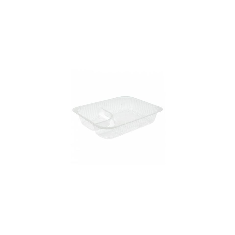 Vaschetta 2 scomparti in plastica trasparente cm 18,5X14X3,8