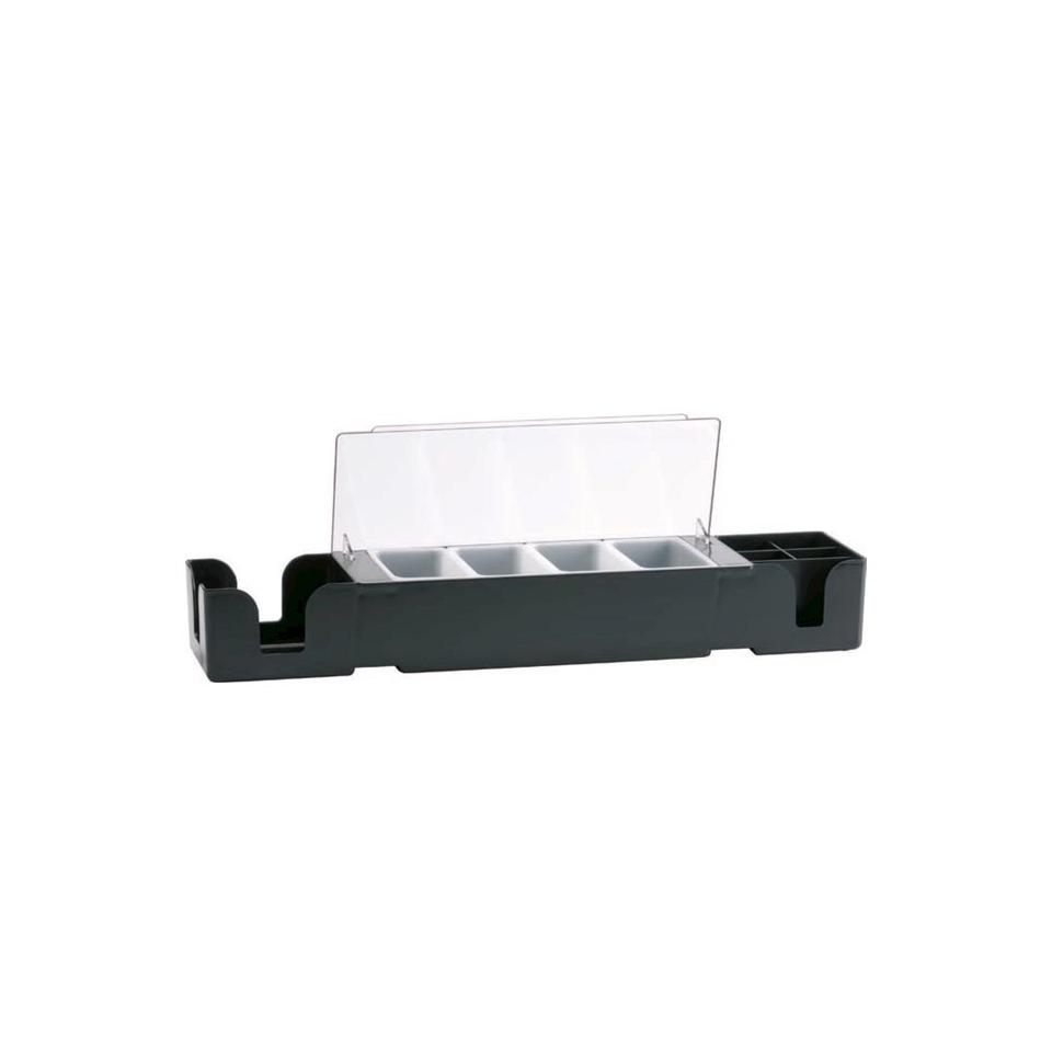Porta condimenti 4 vaschette con bar caddy cm 60x15,5x9
