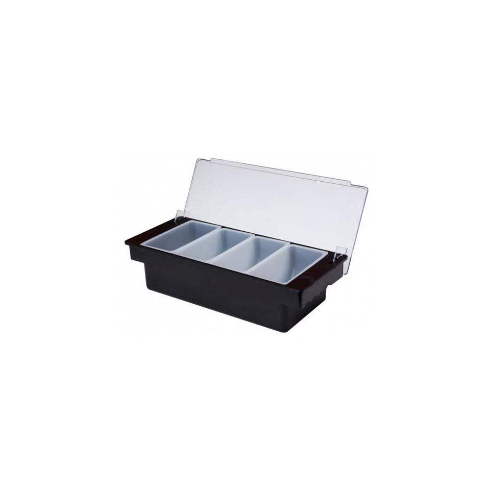Porta condimenti 4 vaschette in plastica nero cm 36x15,5x9