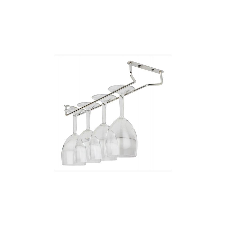 Rastrelliera porta bicchieri a fissaggio sospeso in acciaio cromato cm 40,5