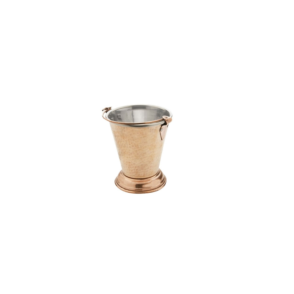 Mini secchiello in rame martellato e acciaio inox cm 12