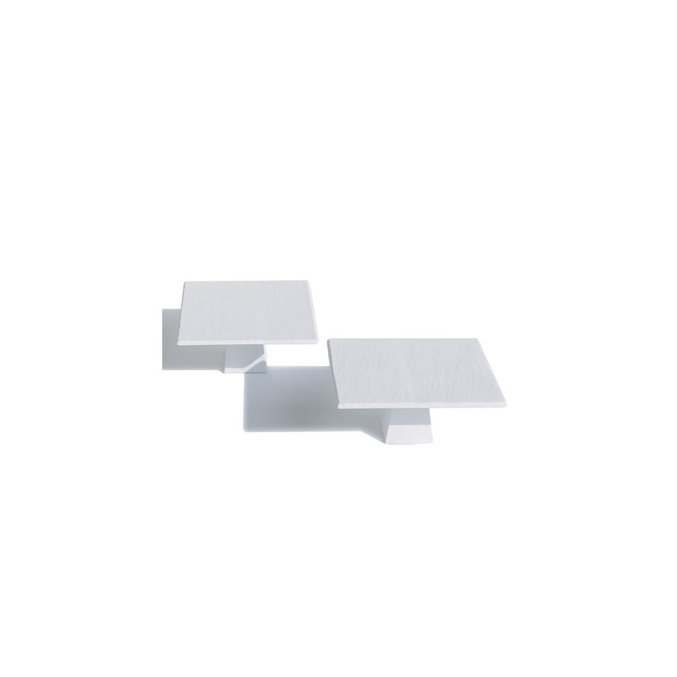 Alzata quadra MPS effetto ardesia in porcellana bianca cm 30x30