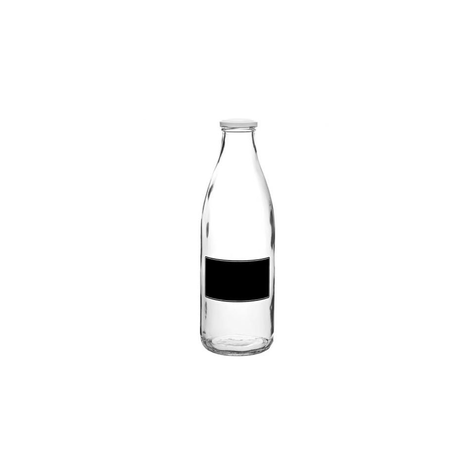 Bottiglia con tappo e lavagna in vetro 1lt