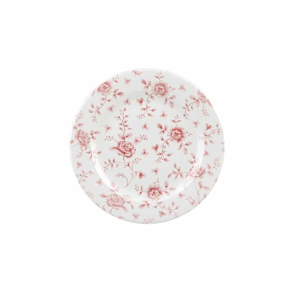 Piatto piano Vintage Rose Chintz Churchill in porcellana rosa cm 30,5