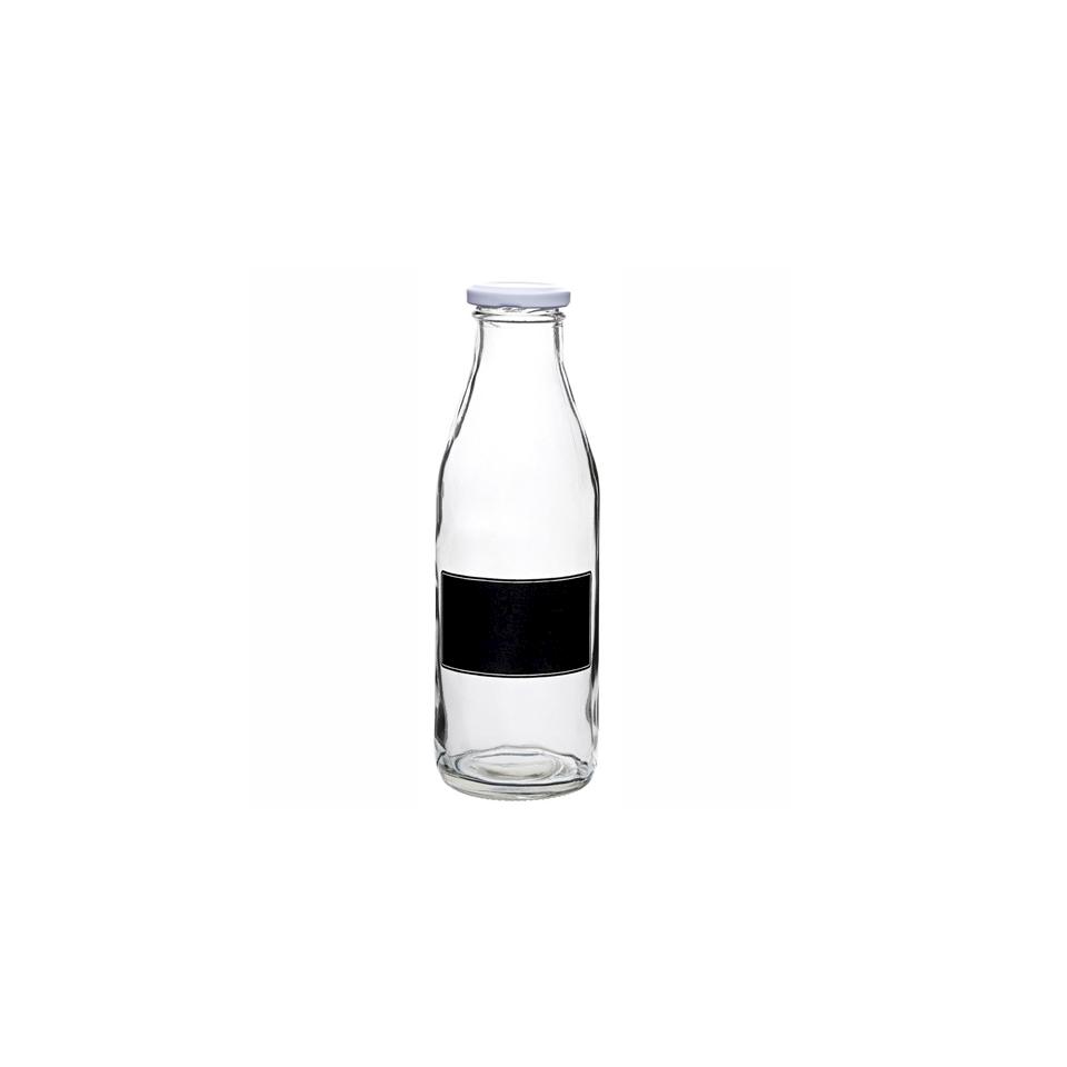 Bottiglia Milk con tappo e lavagna in vetro cl 50