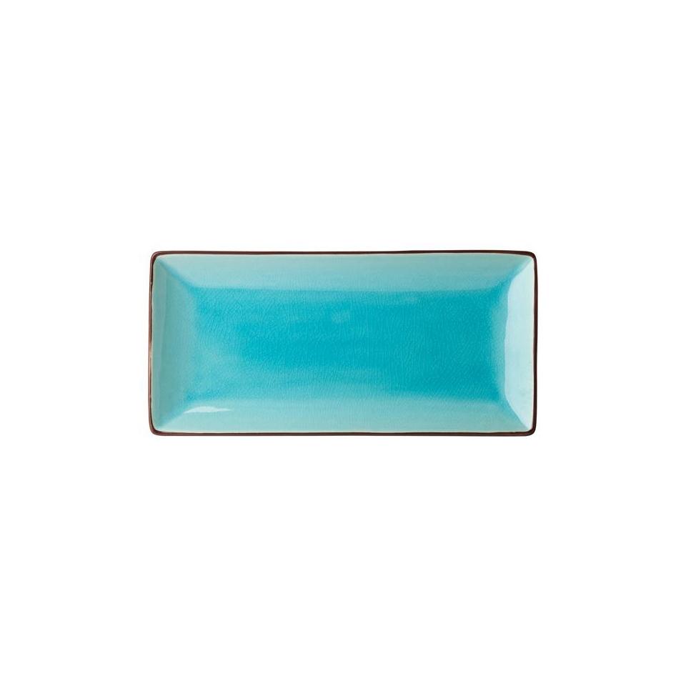 Piatto rettangolare Soho in porcellana nero e azzurro cm 23x13