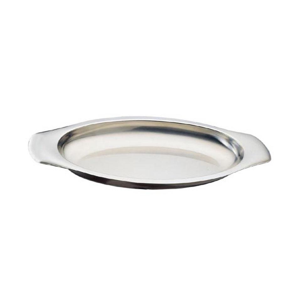Piatto ovale gratin con manici in acciaio inox cm 40