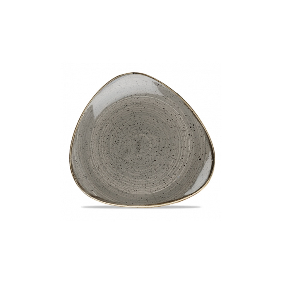 Piatto piano triangolare Stonecast Churchill in ceramica vetrificata grigia cm 26,5