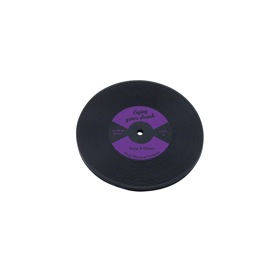 Sottobicchieri Vinile in gomma viola cm 10