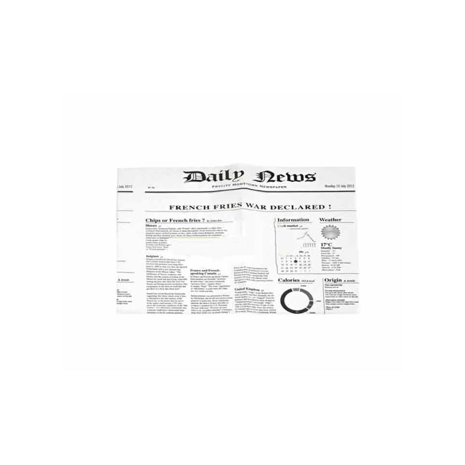 Foglio carta per asporto alimenti bianco fantasia Pagina Giornale cm 27 x 35