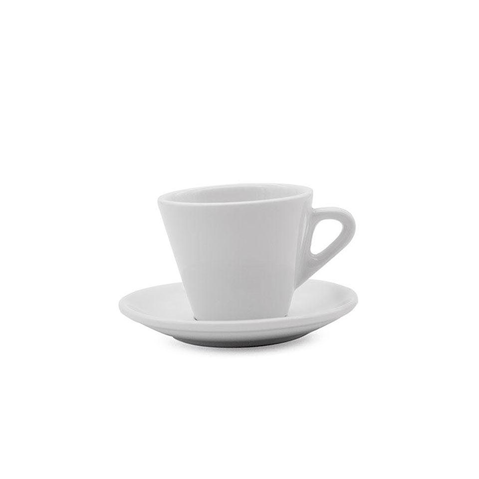 Tazza cappuccio con piatto Lisboa in porcellana bianca cl 21,6