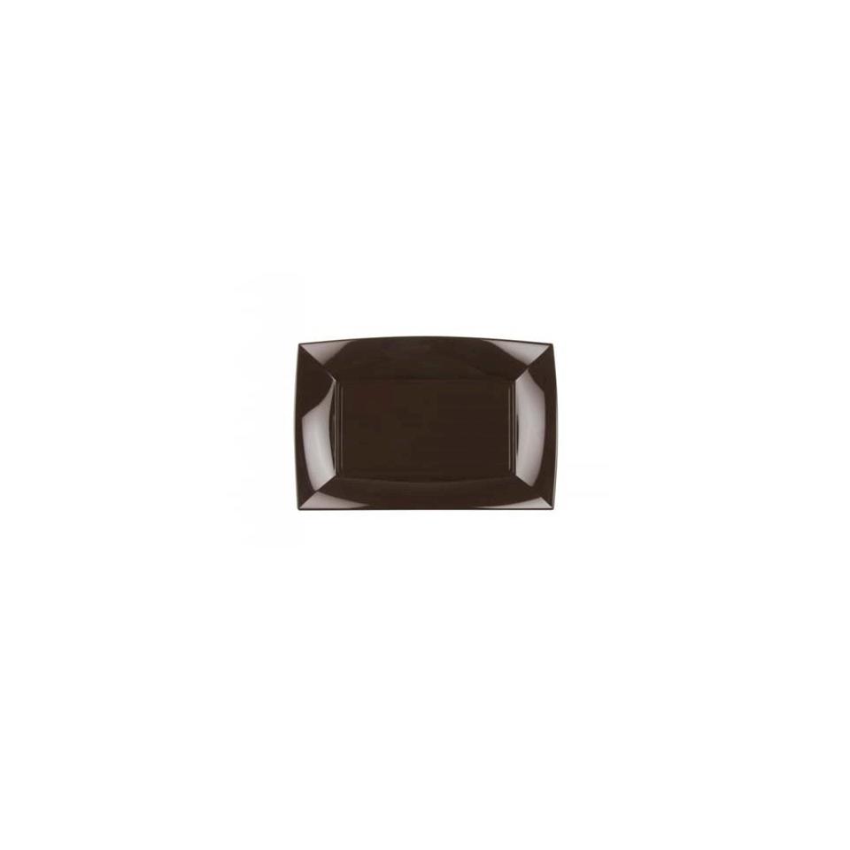 Piatto rettangolare Nice in polipropilene cioccolato cm 29x18