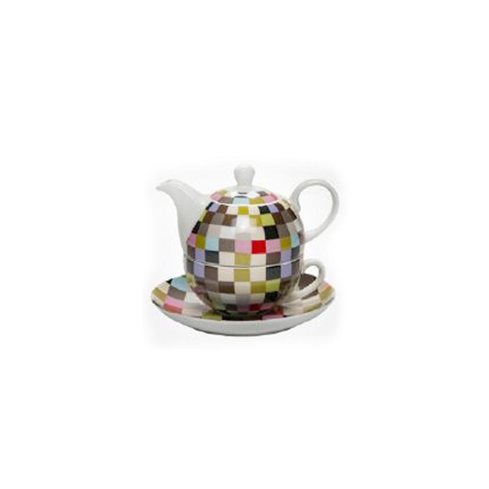 Teiera Tea for One Quadretti in porcellana