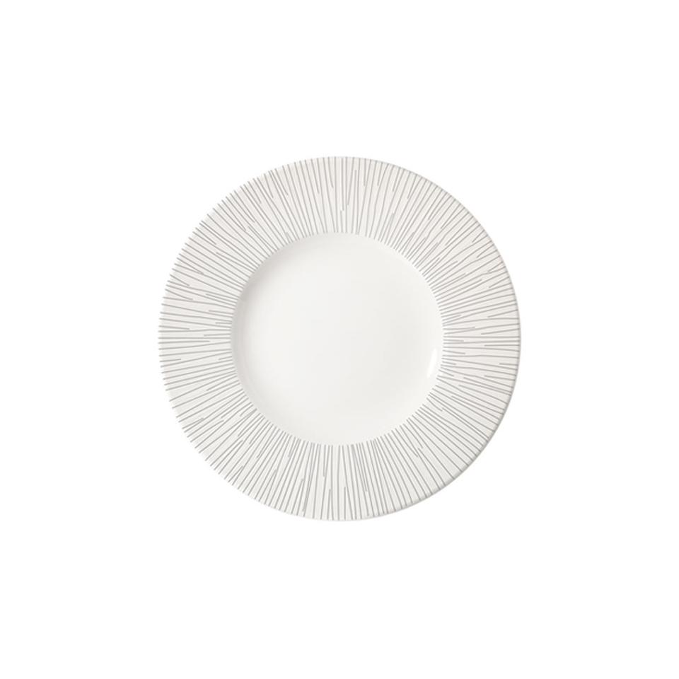 Piatto piano Bamboo Churchill in ceramica vetrificata bianca