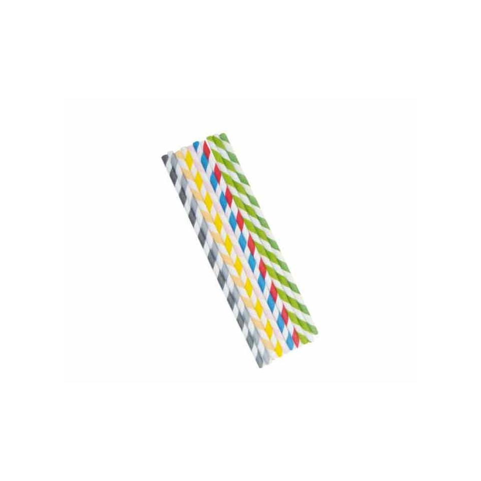 Cannucce a righe imbustate singolarmente in carta verde cm 21x0,6