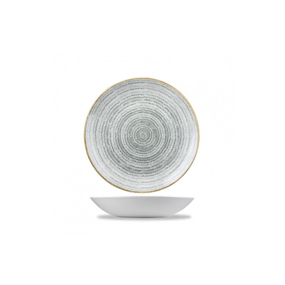 Piatto Coupe Studio Prints Homespun Churchill in ceramica vetrificata bianca e grigia cm 18,2