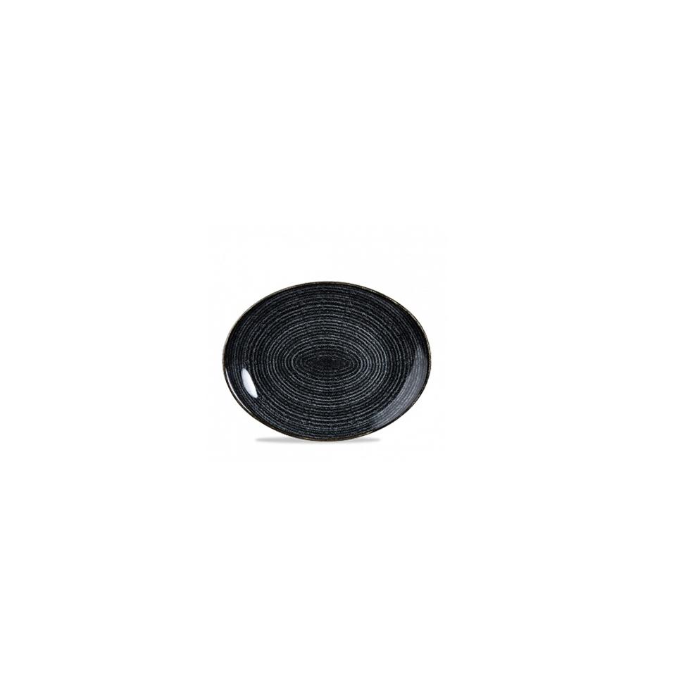Piatto piano ovale Studio Prints Homespun in ceramica vetrificata nero cm 27x23