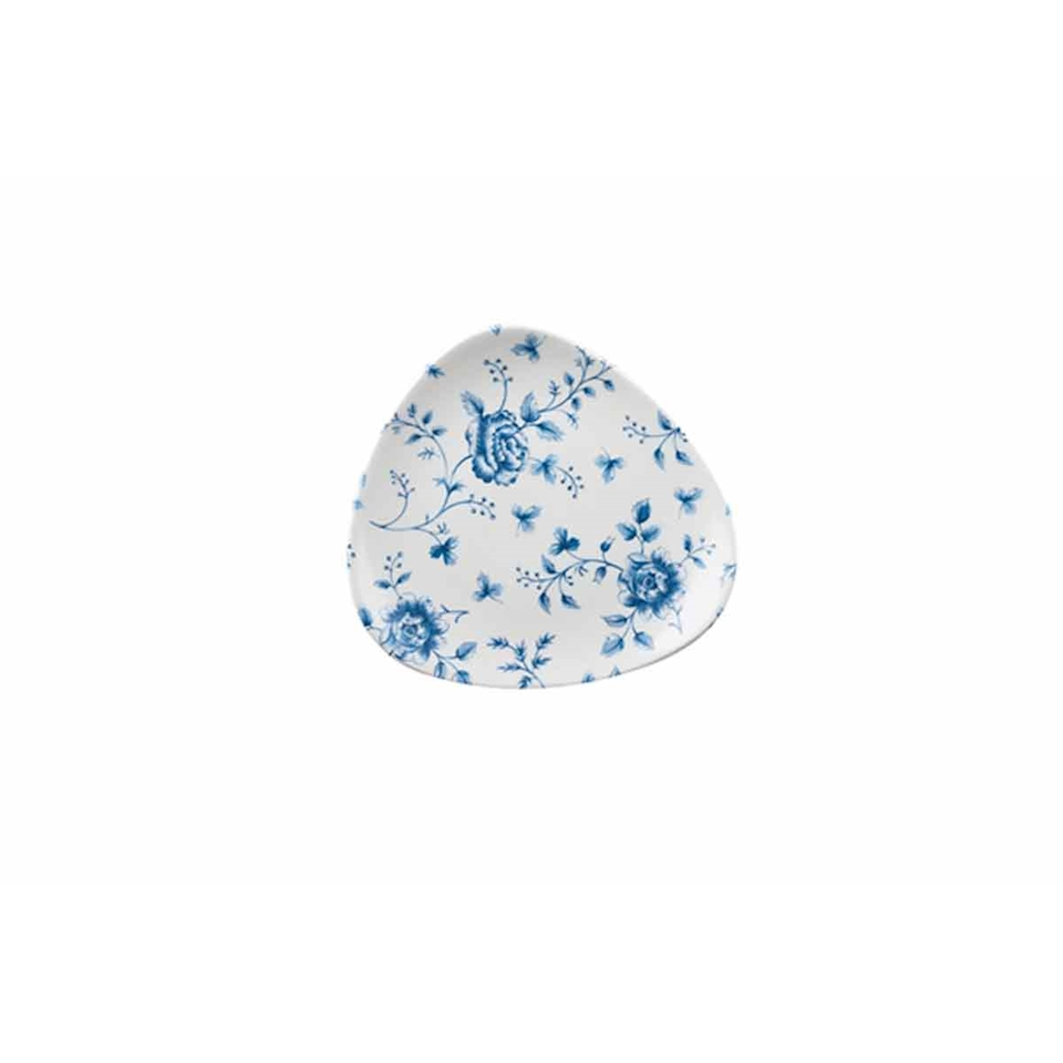 Piatto piano triangolare Linea Vintage Rose Chintz Churchill in ceramica vetrificata blu cm 19